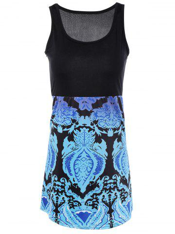 Shop Splicing Tribal Pattern Mini Dress BLACK XL