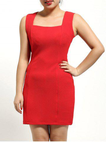 Cheap Square Neck Sleeveless Textured Dress