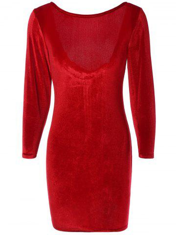 Trendy Long Sleeve Suede Backless Zippered Bodycon Dress WINE RED M