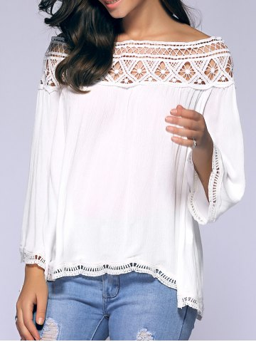 Crochet Off-The-Shoulder Blouse - White - L