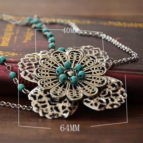 Unique Faux Turquoise Filigree Floral Layered Headband - SILVER  Mobile