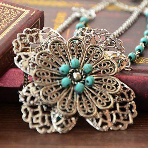 Store Faux Turquoise Filigree Floral Layered Headband - SILVER  Mobile
