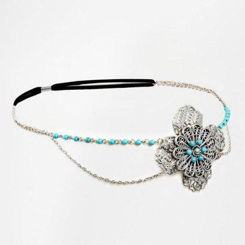 Chic Faux Turquoise Filigree Floral Layered Headband