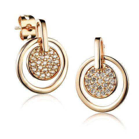 Store Pair of Cut Out Round Rhinestone Earrings