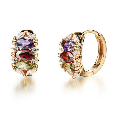 Buy Pair of Multicolored Rhinestone Charm Earrings GOLDEN