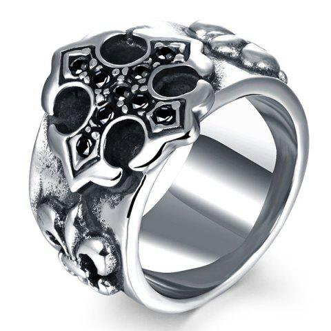 Outfit Etched Embossed Rhinestone Ring - SILVER  Mobile