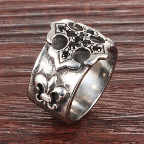 Latest Etched Embossed Rhinestone Ring - SILVER  Mobile