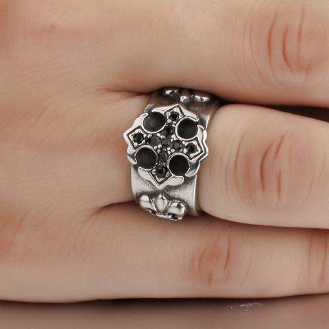 Chic Etched Embossed Rhinestone Ring - SILVER  Mobile