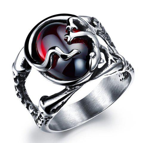 Chic Cut Out Oval Faux Gem Lizard Ring SILVER
