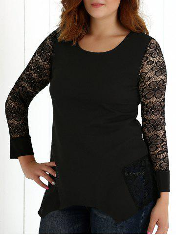 Cheap See-Through Lace Asymmetric Blouse