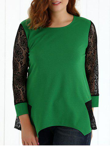 Hot See-Through Lace Asymmetric Blouse