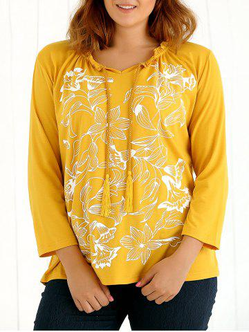 Outfit Long Sleeves Tassel Floral Print T-Shirt YELLOW 4XL