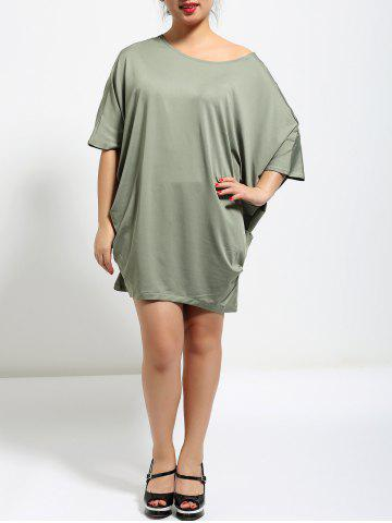 Affordable Batwing Sleeve Ruched Baggy  Dress