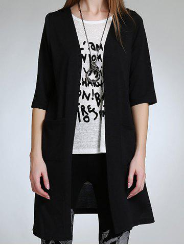 Buy Asymmetric Button Design Long Cardigan BLACK 5XL