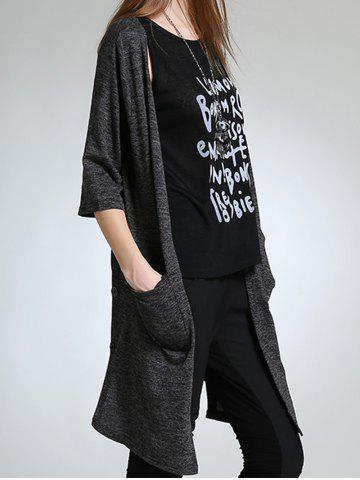 Asymmetric Button Design Long Cardigan - Gray - 5xl