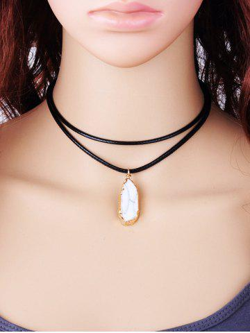 Outfits Double Layered Rope Faux Gem Pendant Necklace WHITE
