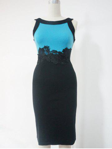 Outfit Lace Color Block Sleeveless Pencil Dress