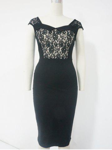 Shops Lace Cut Out Sheath Dress BLACK 2XL