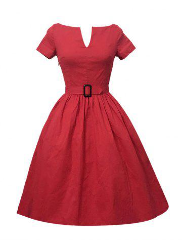 Plus Size Pleated A Line Vintage Dress - RED 4XL