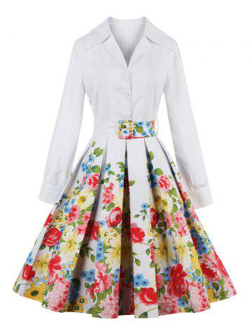 New Floral Long Sleeve Pleated A Line Dress