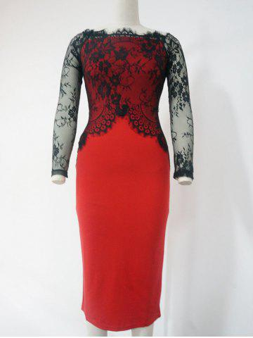Lace See-Through Long Sleeve Pencil Dress - Red With Black - L