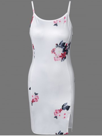 Store Floral Print Slit Cami Bodycon Dress