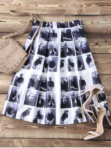 Sale High Waist Pleated Face Print Skater Skirt - ONE SIZE BLACK Mobile