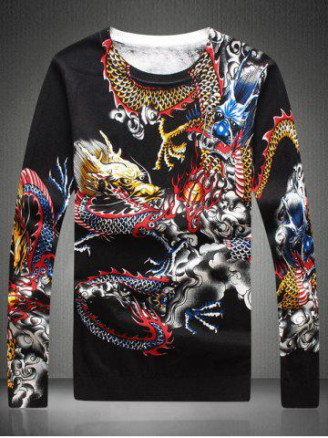 Store Round Neck Dragon Pattern Sweater