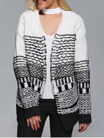 Sale Collarless Two-Tone Ribbed Cardigan