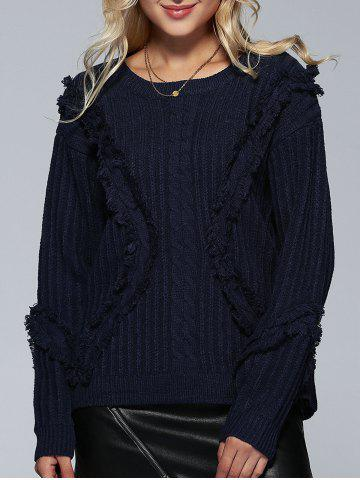 Jewel Neck Ribbed Tassel Sweater - Deep Blue - One Size