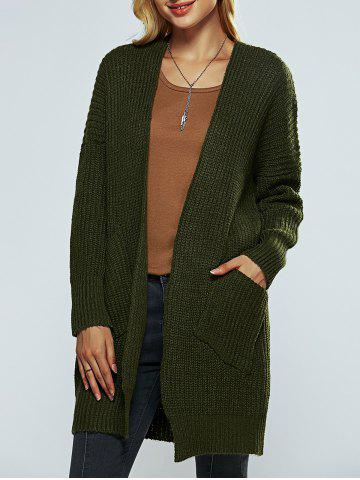 Affordable Collarless Pocket Design Knitted Cardigan