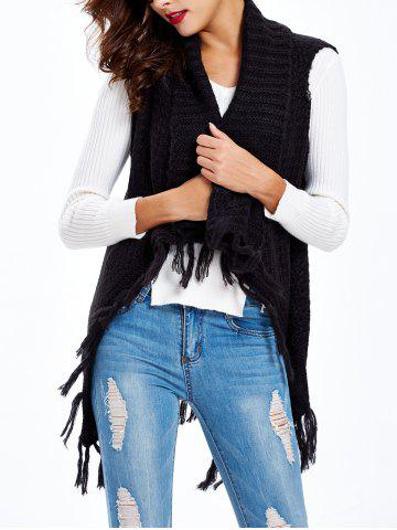 Unique Textured Fringed Knitted Vest