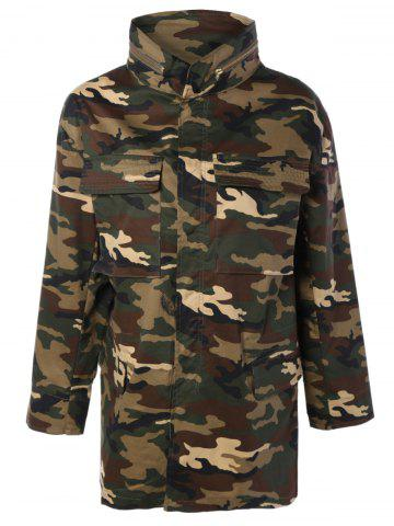Outfit Zip Up Long Sleeve Long Camo Jacket