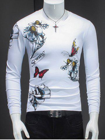 Sale Butterfly and Flower Pattern V-Neck T-Shirt