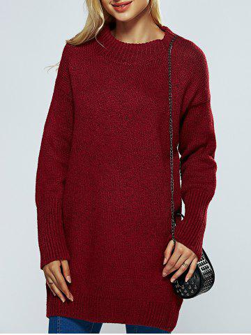 Fashion Round Neck Ribbed Long Sweater WINE RED ONE SIZE