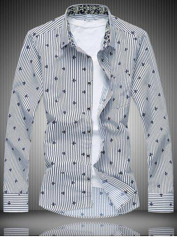 Shop All-Over Striped and Flower Pattern Shirt WHITE 7XL
