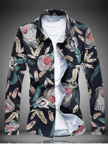 Fancy Long Sleeve All-Over Feather Printed Shirt COLORMIX 6XL