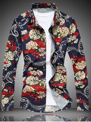 Store Long Sleeve All-Over Floral Printed Shirt COLORMIX 7XL