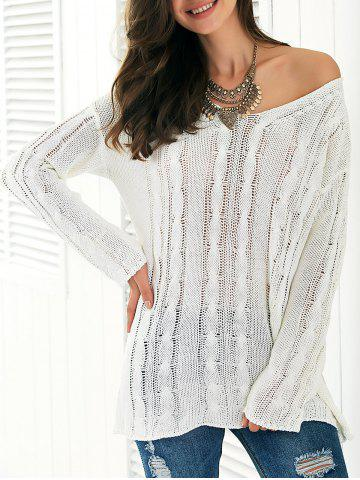 Chic Long Sleeve Hollow Out Knitted Blouse