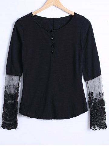 Online See Through Lace Trim Blouse