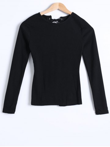 Sale Ribbed Knit Lace-Up Blouse