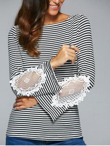 Fashion Striped Lace Insert T-Shirt BLACK XL