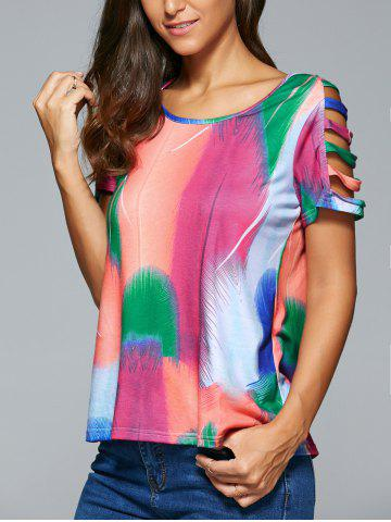 Hot Hollow Out Multi Color Feather Print T-Shirt