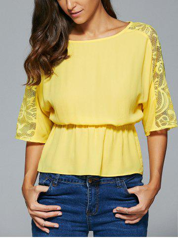 Outfits Lace Spliced 3/4 Sleeve Elastic Waist Blouse YELLOW L