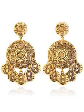 Discount Alloy Engraved Round Pattern Drop Earrings