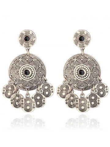 Affordable Alloy Engraved Round Pattern Drop Earrings SILVER