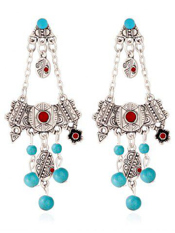 Store Engraved Geometric Floral Beads Drop Earrings SILVER