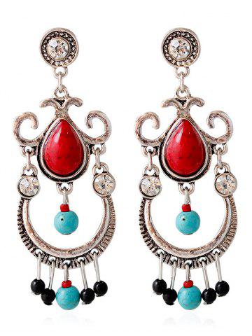 Sale Faux Ruby Turquoise Water Drop Earrings RED