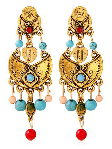 Chic Alloy Beaded Antique Engraved Earrings GOLDEN