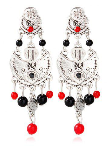 Latest Alloy Beaded Antique Engraved Earrings SILVER